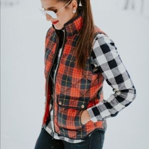 J Crew plaid down puffer vest